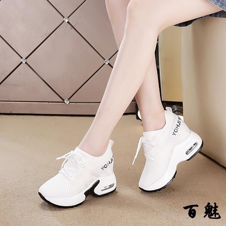 百魅內增高女鞋 坡跟小白鞋 百搭韓版氣墊運動鞋女 學生休閑厚底鞋 小尺碼女鞋