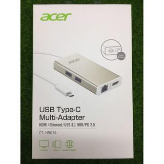 宏碁原廠USB Type-C多功能擴充卡 HUB HDMI+RJ45+USB3.1 C3-H9074