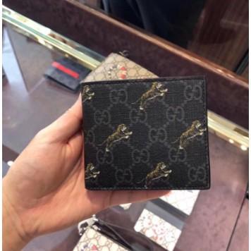 專櫃正品 GUCCI 575133 GG 老虎印花錢包 對折 男士西裝夾 短夾 短款錢包 卡包