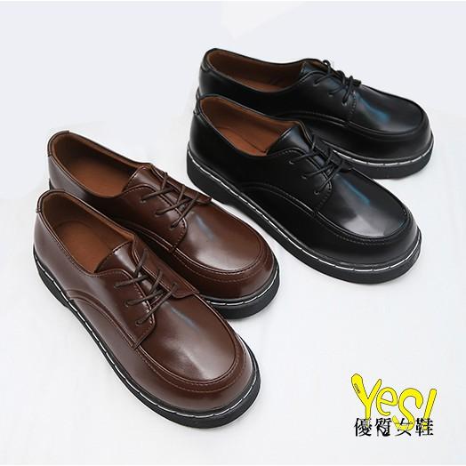 英倫學院風布洛克鞋 復古百搭日系小皮鞋 牛津鞋-黑/棕【Yes 優質女鞋】