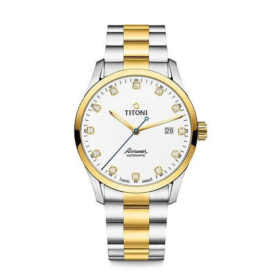TITONI 瑞士梅花錶空中霸王系列 83743SY-582單鑽大方機械腕錶/金銀 39mm