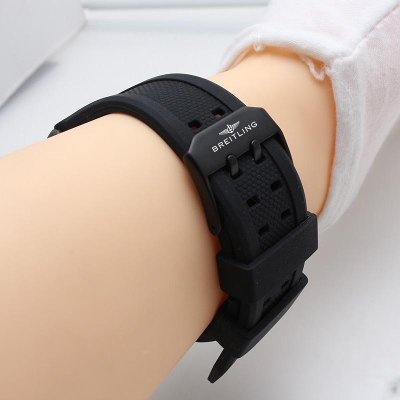 新品特賣⚡B家breitling手表帶復仇者黑鳥偵察機硅膠橡膠防水表帶20 22