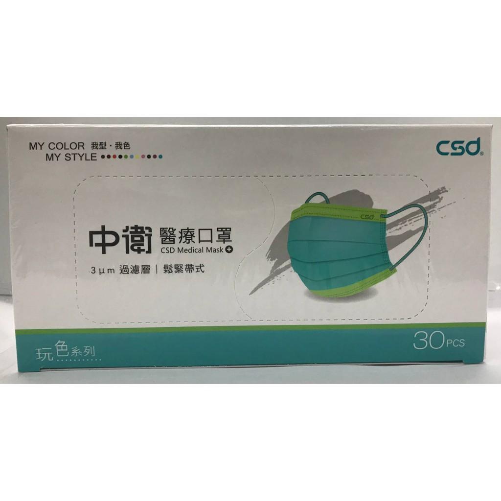 中衛玩色系列-月河藍+炫綠醫療口罩/30入