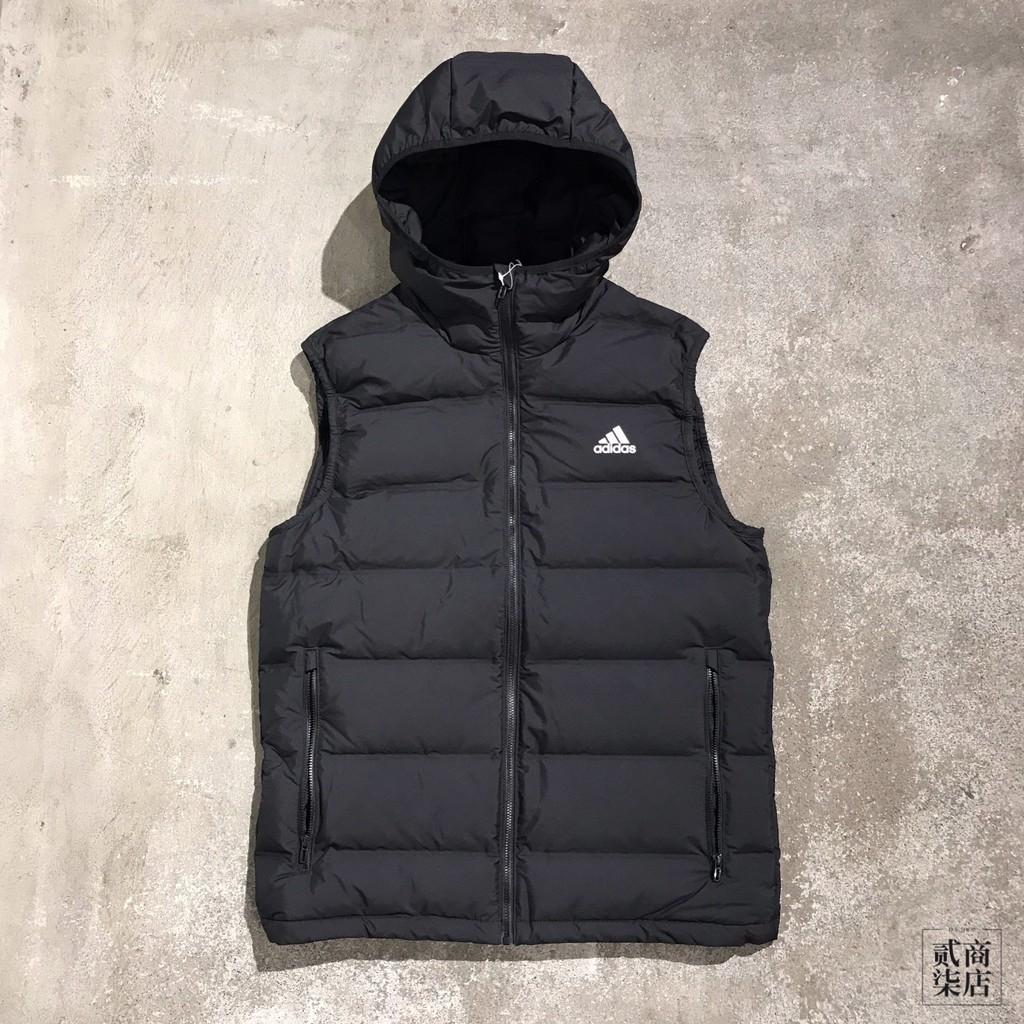 (貳柒商店) adidas Helionic Down Vest 男款 黑色 背心 羽絨背心 防風 連帽 BQ2006