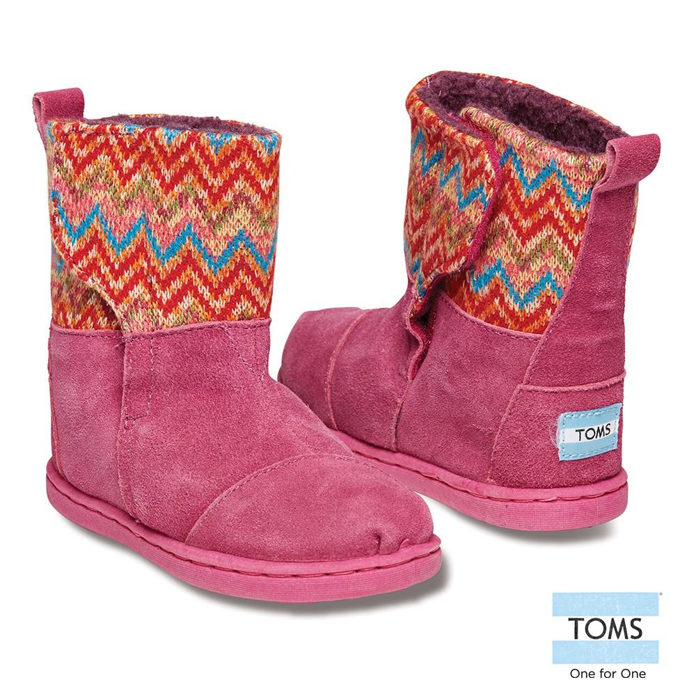 美國原廠 TOMS童鞋 桃色亮彩圖騰針織拼接雪靴 休閒鞋