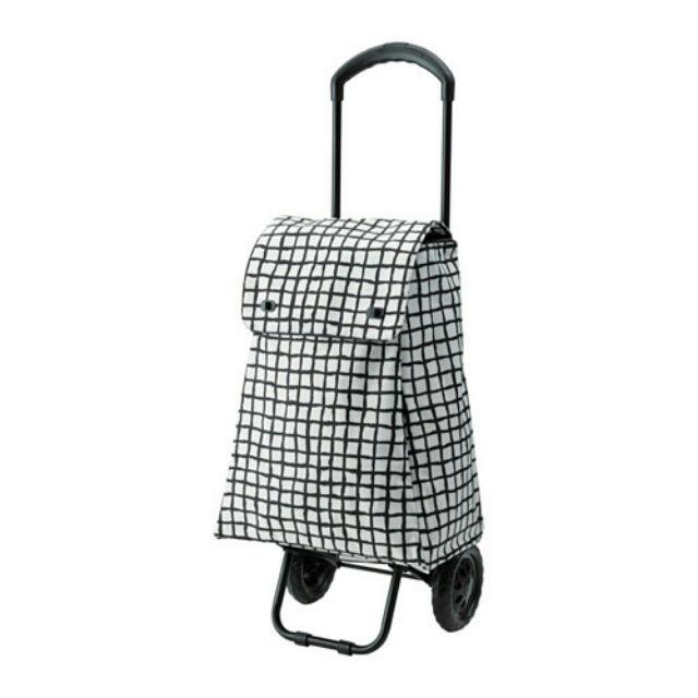 【亮菁菁 】IKEA代購 KNALLA 推車式購物袋 黑白格/黑色
