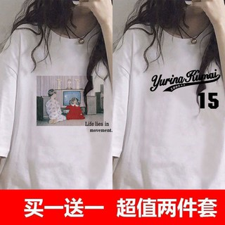 21亲斤多單件/ 兩件裝純棉日系印花短袖T恤女夏季新款韓版學生上衣2625