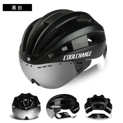 最新版超殺配色消光黑白~超流線風鏡款超輕氣動頭盔空氣力學帽(近視眼鏡最愛安全帽)三鐵計時車公路車媲美KASK.POC