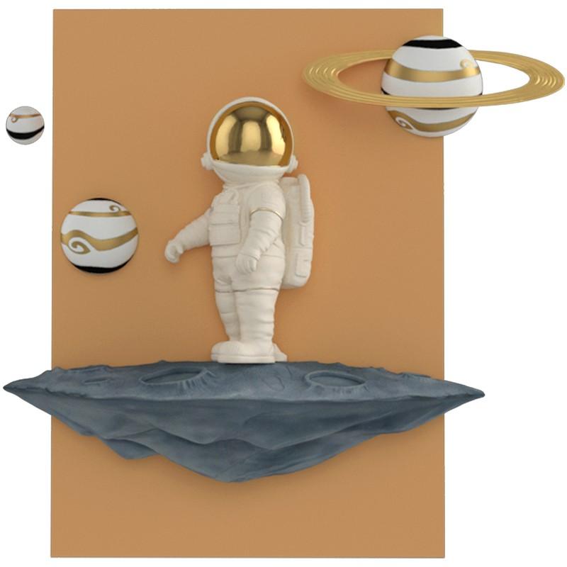 宇航員客廳裝飾畫北歐太空人入戶玄關掛畫兒童房臥室床頭立體壁畫