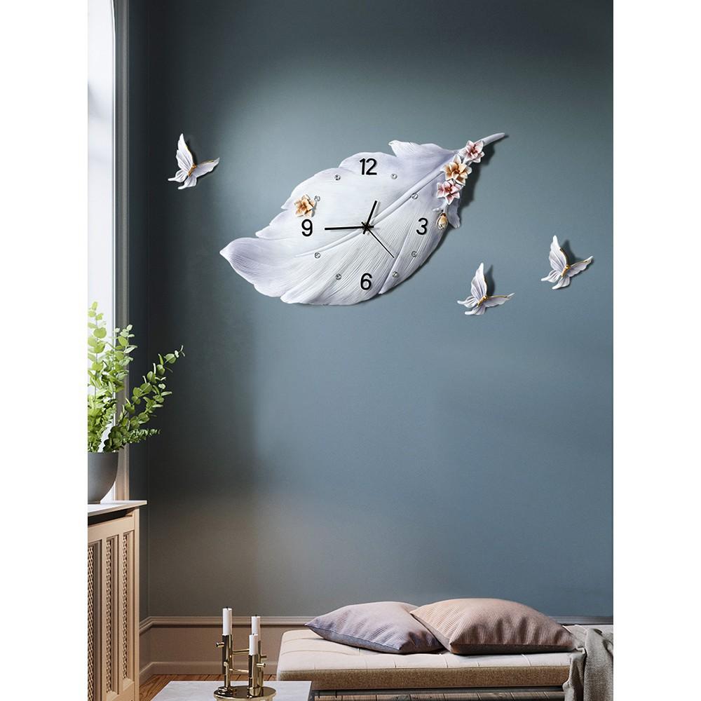 北歐鐘錶藝術掛鐘家用簡約現代客廳裝飾 ins網紅時尚個性羽毛時鐘(凡高家居)