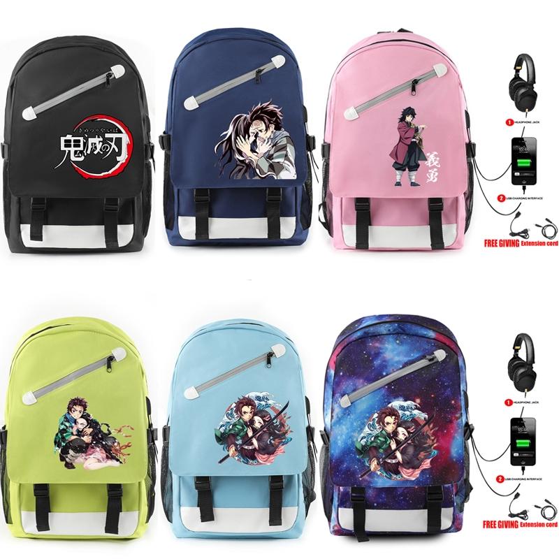 30款 動漫 鬼 滅 之刃 鬼滅之刃 後背包 包包 USB充電 雙肩包 學生書包 背包 旅行包 電腦包 單肩包 情侶禮物