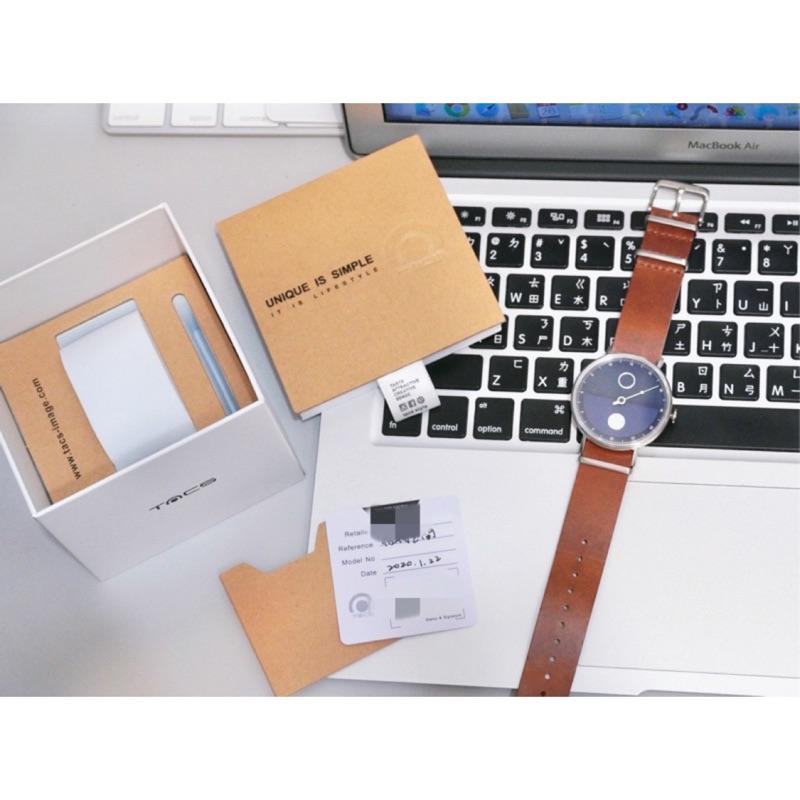 日本 TACS 晝與夜手錶 咖啡x深藍 九成新 盒裝 專櫃購入