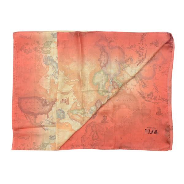 【Alviero Martini 義大利地圖包】渲染地圖絲巾-70X200(橘/地圖黃)