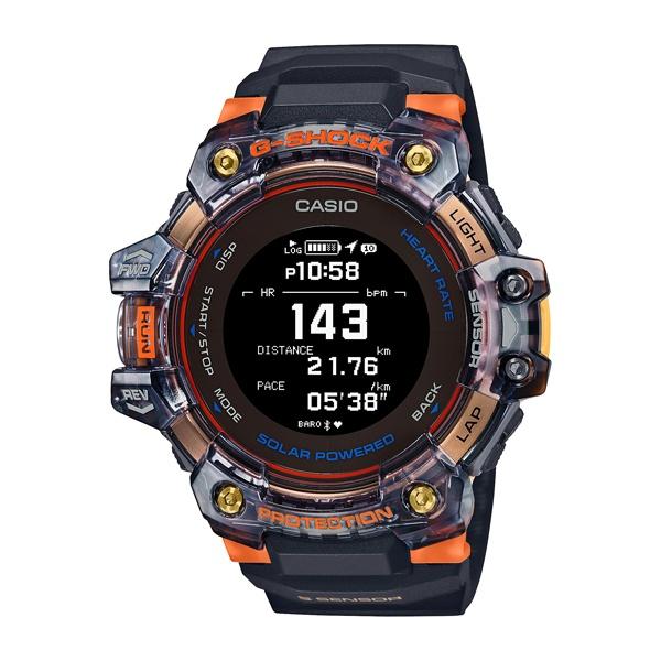 CASIO卡西歐 G-SHOCK 心率偵測GPS定位藍牙太陽能電力-黑x橘透明/55mm (GBD-H1000-1A4)