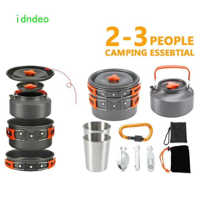 Idndeo 10pcs 便攜式野營炊具套裝餐具茶壺套裝 2-3 人戶外折疊炊具組合套裝