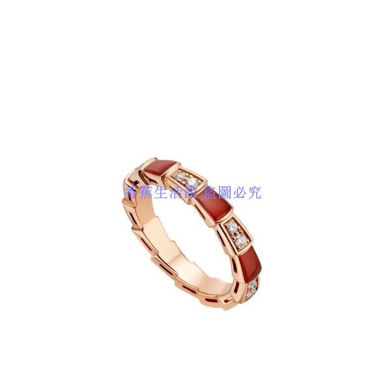 經典款 寶家BV蛇骨戒指 925純銀 鑲鉆間紅玉髓女指環 窄
