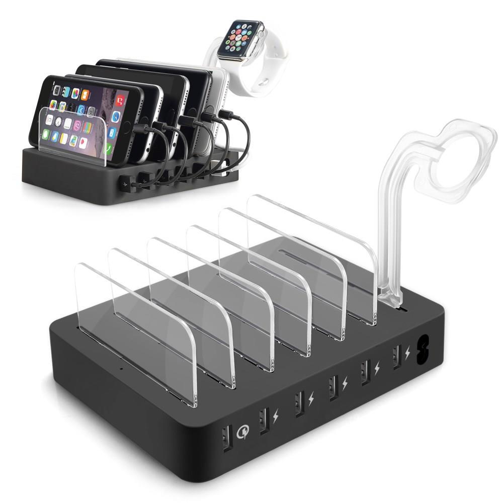 具有 1 個 Quick Charge 3.0 端口 ,5 X 2.4a Usb 智能充電端口的 60w 6 端口充電站