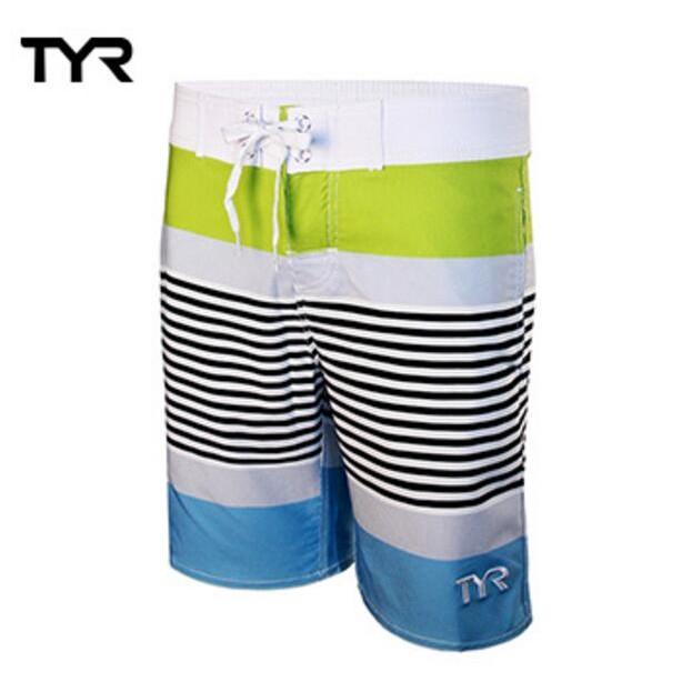 美國TYR 休閒舒適 修身有型 男款彈性海灘褲Zag Stripe Boardshort VIridian 廠商直送