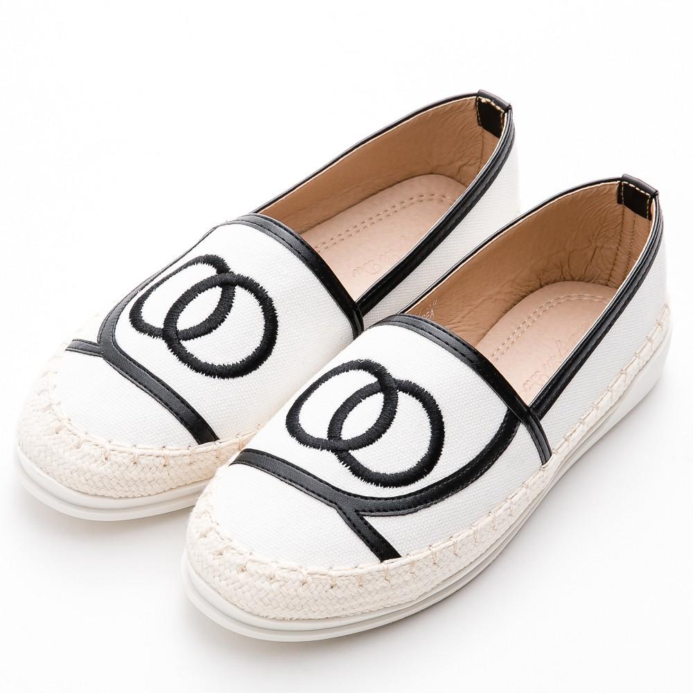 鉛筆鞋-經典小香風帆布豆豆休閒鞋 白RiverMoon
