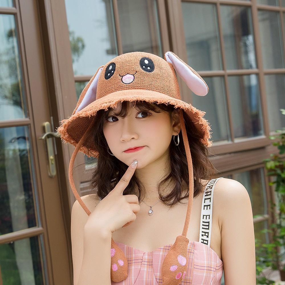 ✁抖音同款耳朵會動的兔子草帽女夏天可愛防曬帽親子兒童網紅遮陽帽