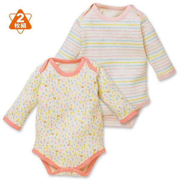 日本西松屋 厚棉活肩式長袖包屁衣二件組 白松鼠 女寶寶童裝【NI0260292】