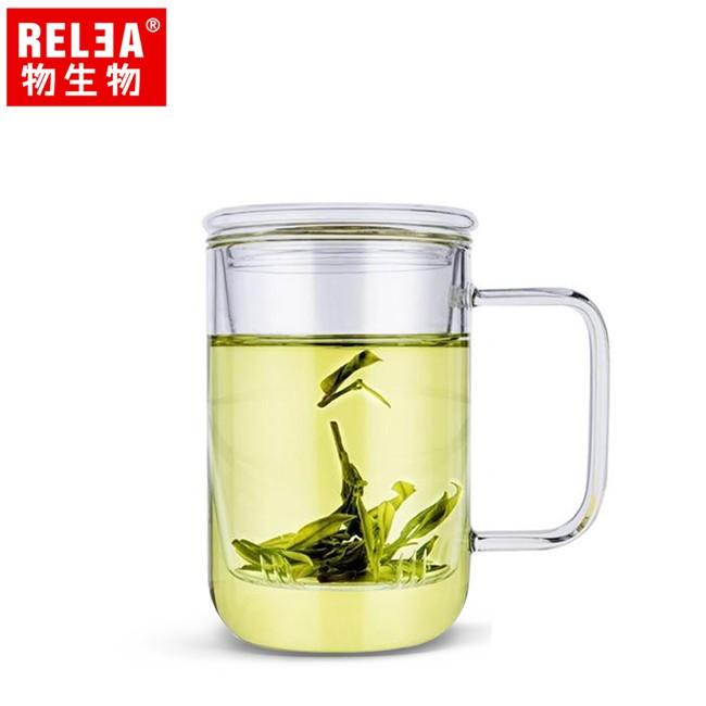RELEA物生物 420ml 君子杯 耐熱玻璃泡茶杯(附濾茶器) JV0102166