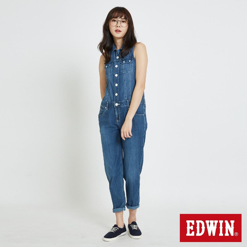 EDWIN MISS無袖連身牛仔長褲(石洗藍)-女款