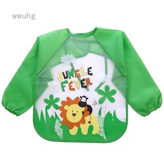 Wwuhg EVA罩衣嬰幼兒童長袖防水反穿衣寶寶吃飯衣圍兜免洗畫畫衣