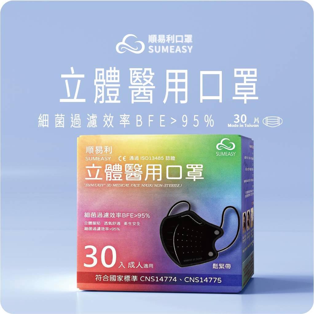 【順易利】台灣製 現貨 成人3D立體 L號 醫用口罩 醫療用 立體 口罩 30片/盒