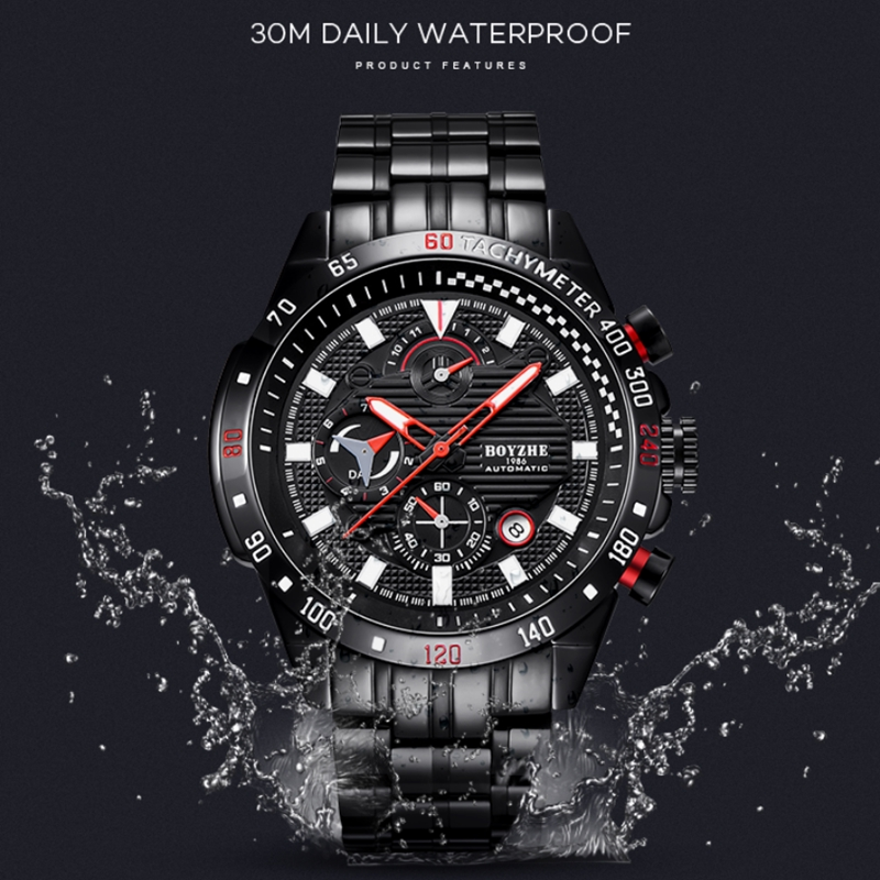 BOYZHE男士自動上弦機械表防水自動手錶男士不銹鋼黑色Relojes Hombre機械錶手錶男生
