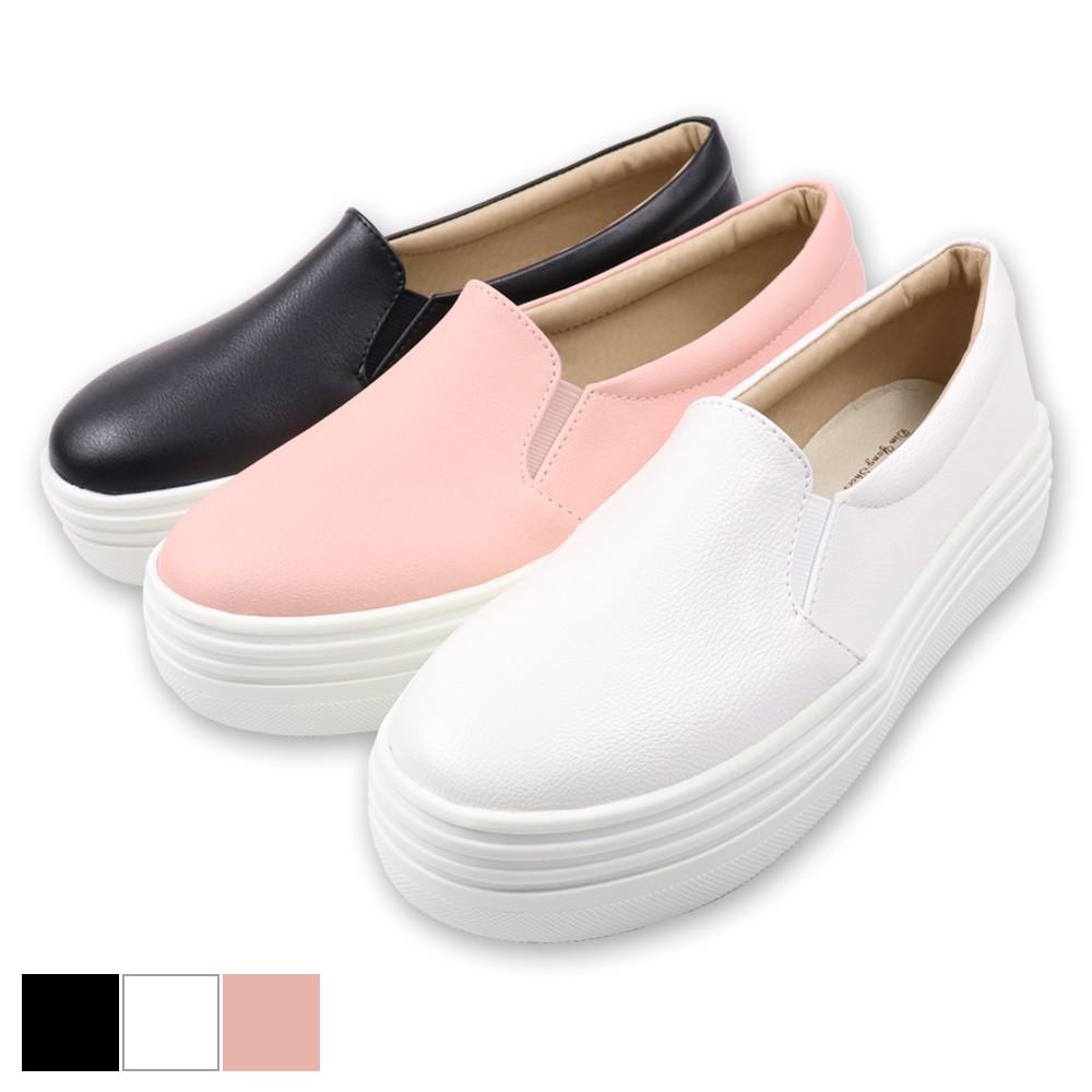 DIN.Y / S111-00 / 厚底素面休閒鞋(黑/白/粉) 真皮鞋墊/ 休閒鞋/ 增高4cm / 素面鞋 /厚底鞋