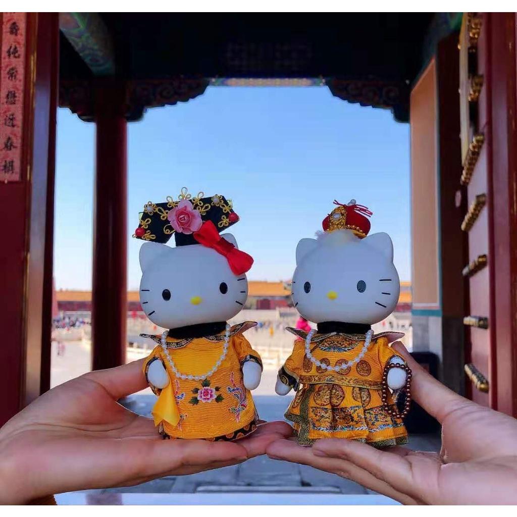 現貨 正版hello Kitty公仔娃娃 北京特色工藝禮品 陶瓷金銀KT貓 宮廷皇宮娟人娃娃 皇上皇后阿哥格格 收藏品