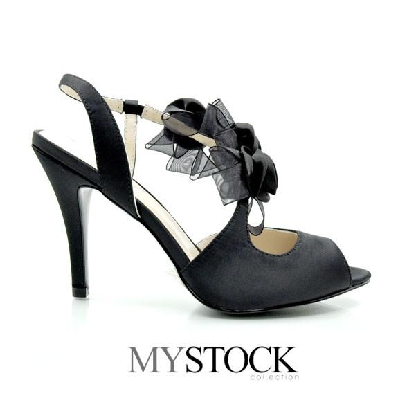 MYSTOCK綢緞裝飾魚口鞋(黑色)
