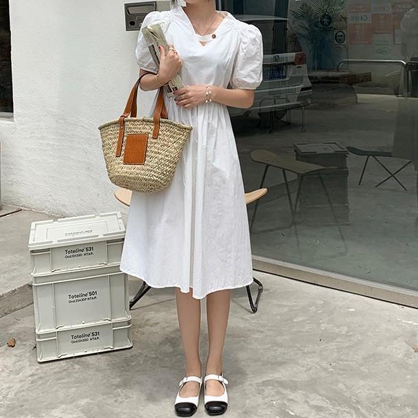 短袖洋裝 修身連身裙 小清新 閨蜜裝 休閒 顯瘦 春夏韓版設計感 氣質 百搭 泡泡袖連衣裙