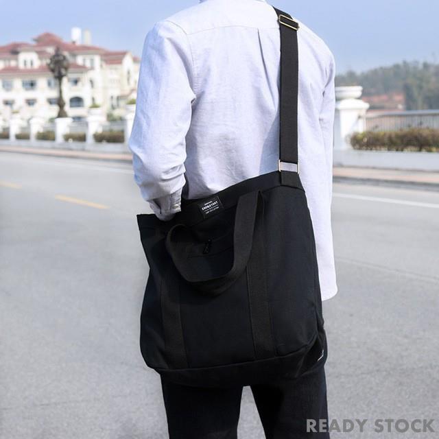 韓國大尺寸手提包手提袋單肩包單肩包男情侶學生青少年休閒時尚品牌大容量帆布黑色 Gt-02 (Wanita Beg 手提袋