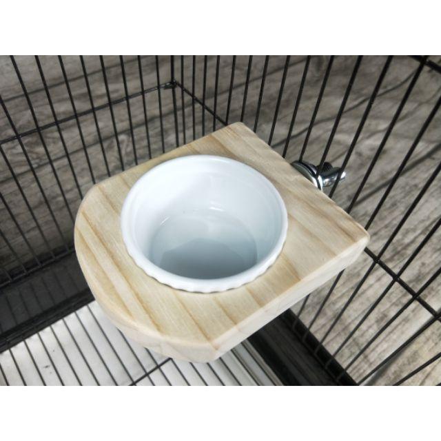 嚴選特A級紐松板,單碗飼料杯木平台(附小陶瓷杯*1個)、寵物鳥、寵物鼠、倉鼠、鸚鵡用品、攀爬、站架