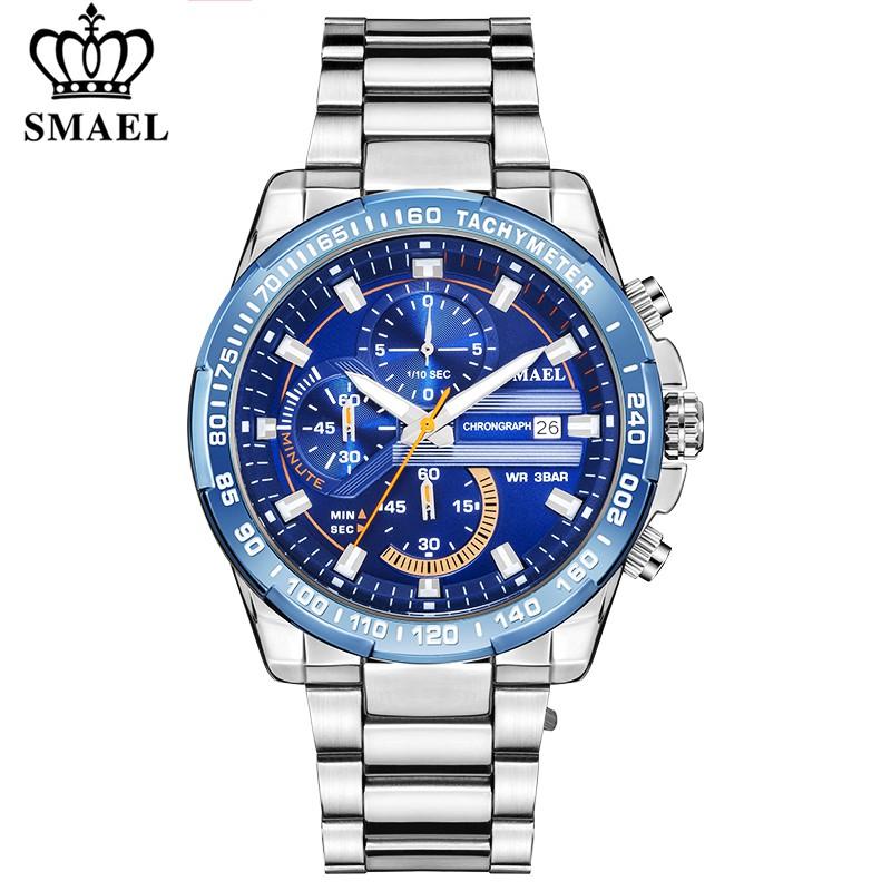 SMAEL手錶男士新時尚運動石英全鋼男士手錶3Bar防水腕錶9089