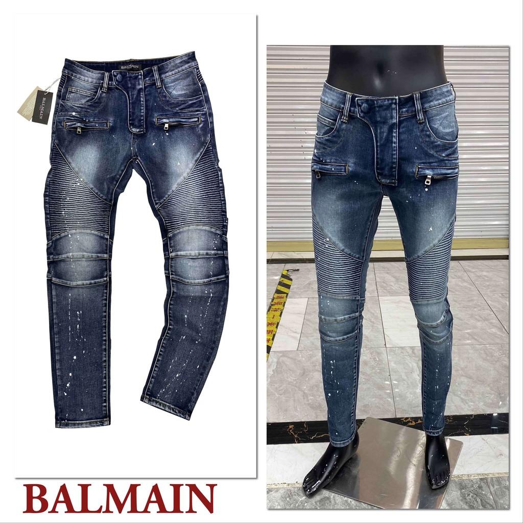 新款巴爾曼牛仔褲 潑墨現貨牛仔褲 BALMAIN牛仔褲 男士牛仔褲 男士牛仔長褲