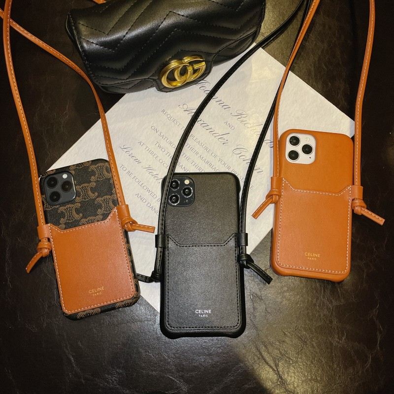 賽琳 皮質 大牌手機殼 可背 挂繩 插卡手機殼  IPhone 11 12 Pro Max XRXsMAX CELINE