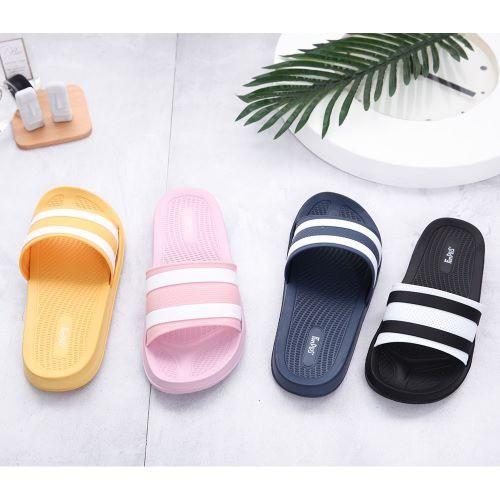Fun Plus+ 霧彩線條休閒拖鞋71036-粉紫/黃(23~25cm)【愛買】