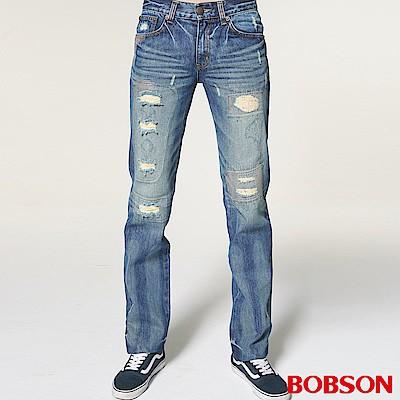 BOBSON 男款貓鬚直筒破褲1751-53