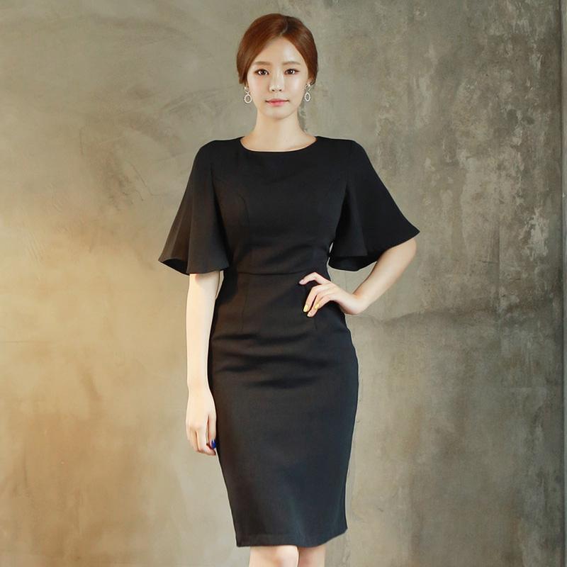 五分寬袖黑色正韓洋裝上班族洋裝顯瘦氣質包臀及膝連衣裙 office洋裝