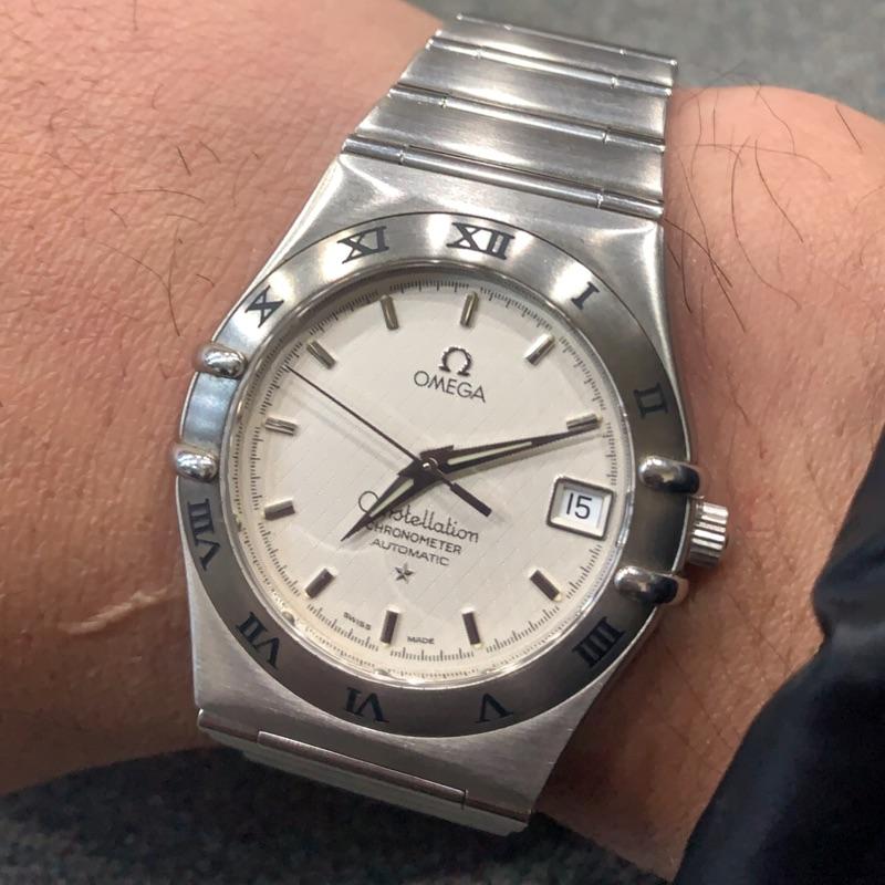 原裝真品OMEGA 歐米茄Constellation 星座系列,全白鋼自動上鍊機械男錶 35mm