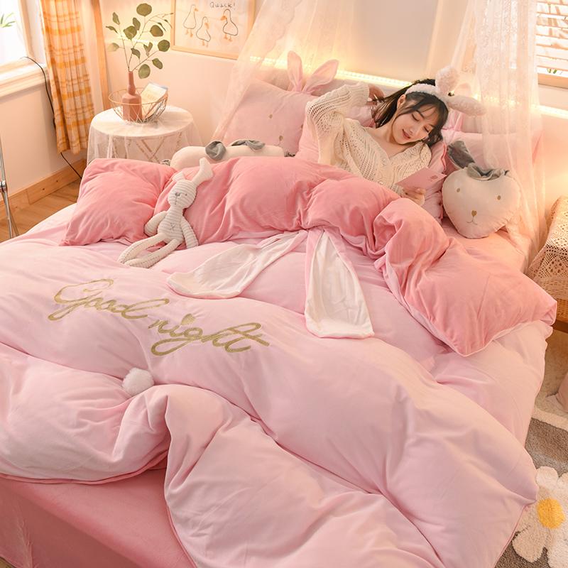 小仙女水晶絨四件套公主風珊瑚法蘭絨加厚冬季床上少女心床單被套