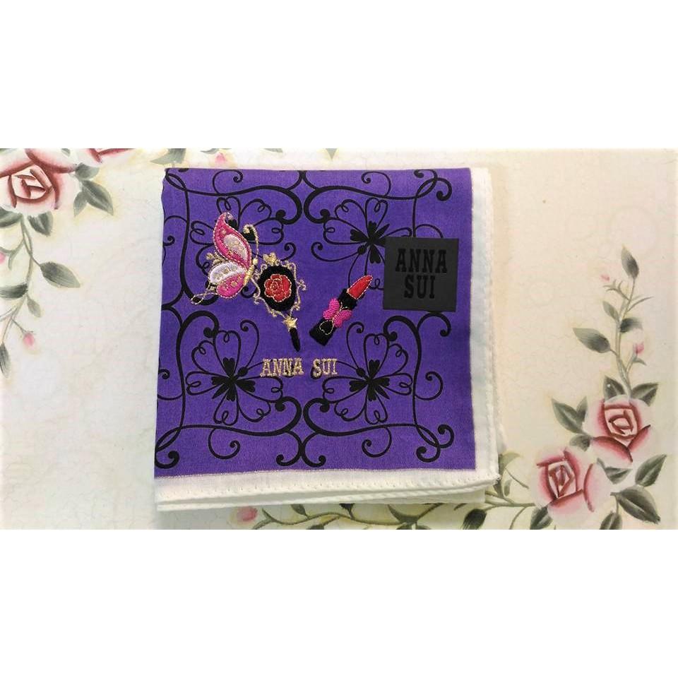 ANNA SUI 紫色 蝴蝶 鏡子 口紅 繡紋 手帕 方巾 日本帶回
