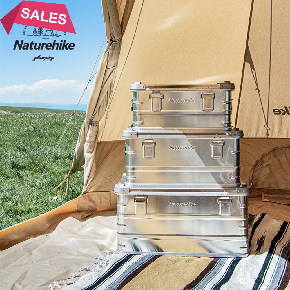 戶外野炊露營野餐收納折疊箱多功能車載 Naturehike挪客戶外露營鋁合金收納箱車載家用大容量儲物盒雜物包 塑料可側開