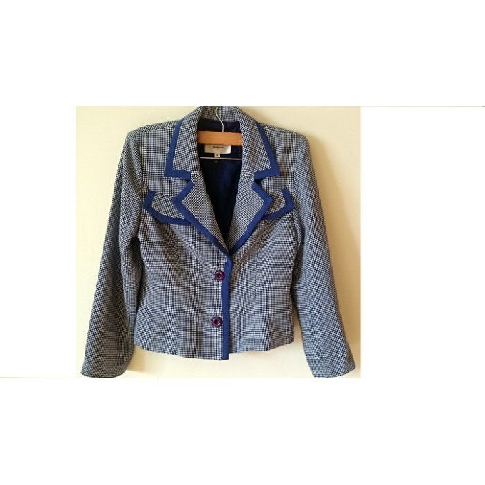 BOSCH專櫃品牌藍色格子千鳥紋前假口袋修身顯瘦時尚西裝外套夾克風衣OL百搭(有墊肩)