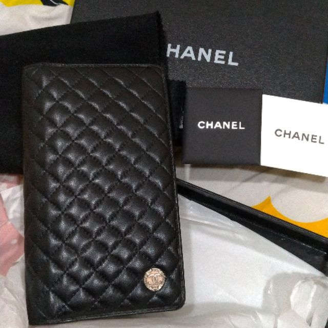專櫃真品 Chanel 季節款Mini菱格 羊皮 對開 長夾