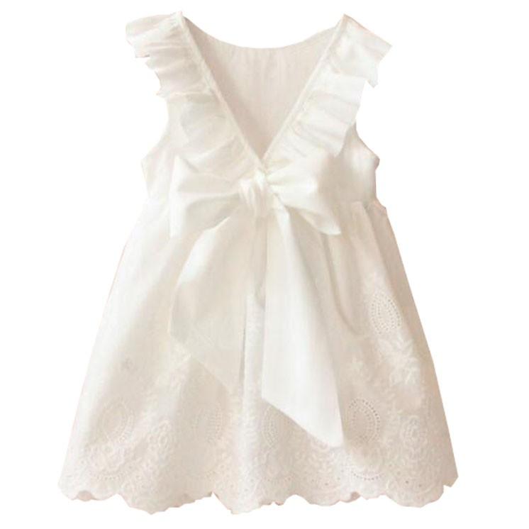 純白色連衣裙夏季女童蝴蝶結大V露背鏤空下擺裙子