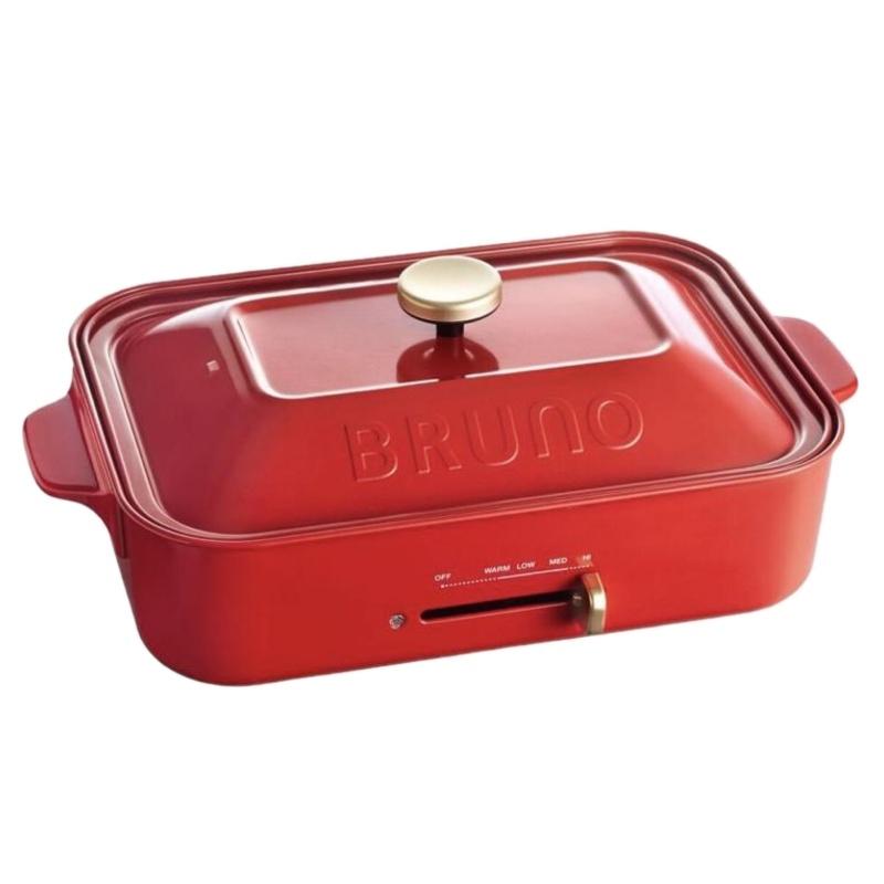 【日本BRUNO】多功能鑄鐵電烤盤(經典紅) 平板+六格盤(無章魚燒烤盤) BOE021-PXT